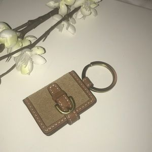 COACH SUEDE & LEATHER PICTURE FRAME KEY RING